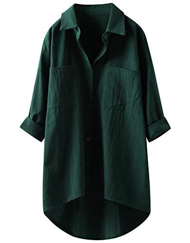 ASARANS ロングシャツ シャツ レディース 長袖 シャツワンピース リネンシャツ 麻 ゆったり 大きいサイズ 無地 春 夏 秋 (M, グリーン)