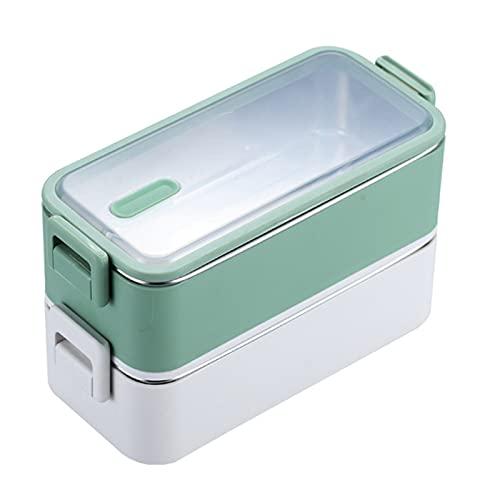 2 niveles apilable contenedor microondátago Reutilizable Caja de almuerzo Bento Bento Caja para adultos Almacenamiento de alimentos Portátil Mantener la oficina de la escuela fresca ( Color : Green )