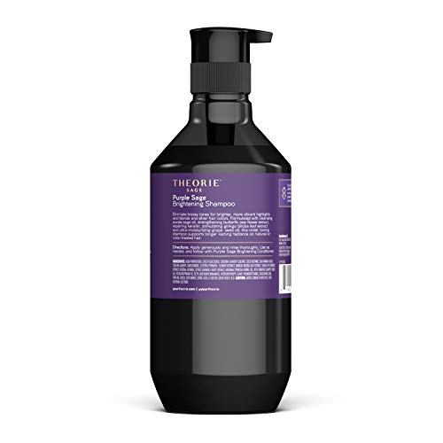 THEORIE Purple Sage Brightening Shampoo- Balance, Tone & Brighten Blonde, Silver, Grey, Bleached, Color Treated or Highlighted Hair, Eliminate Brassiness & Yellowing, 400mL