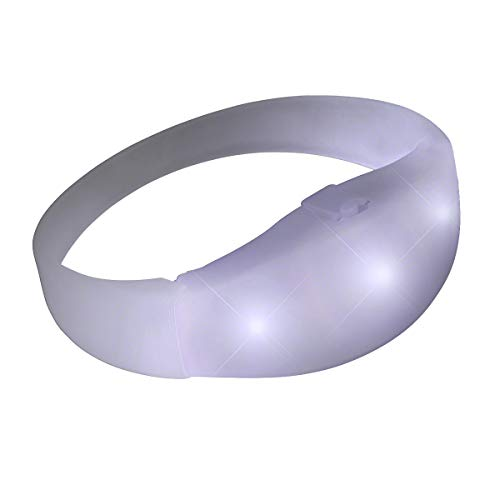 FlashingBlinkyLights Light Up White Sound Activated LED Bracelet (Set of 12)