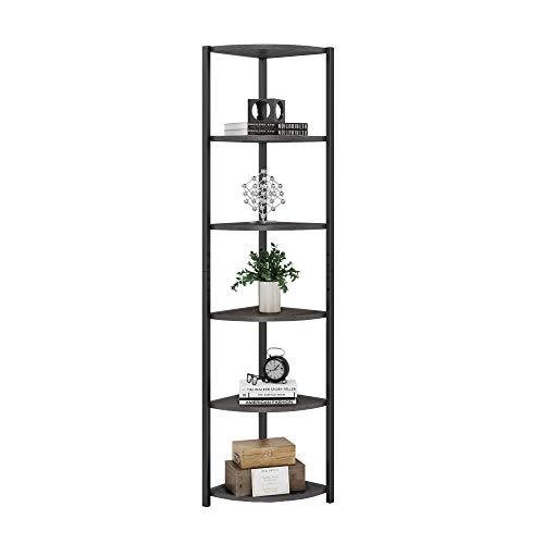HOMECHO 6 Tier Corner Shelf, Industrial Corner Bookcase Small Display Rack, 65.4 inch Tall Storage Shelf Stand, Multipurpose Shelving Unit for Home Office, Dark Brown