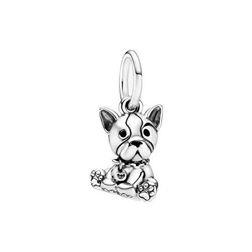 LISHOU DIY 925 Plata Esterlina Bulldog Puppy Dog Dangle Fit Original Pandora Pulseras Collar para Mujeres Encanto Cuentas Fabricación De Joyas