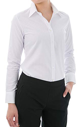 Price comparison product image Leonis Women's Cotton Blend Non Iron White Collared Long Sleeve Shirt No.002 Stripe Light Purple (XXS [0]) [ 44021 ]