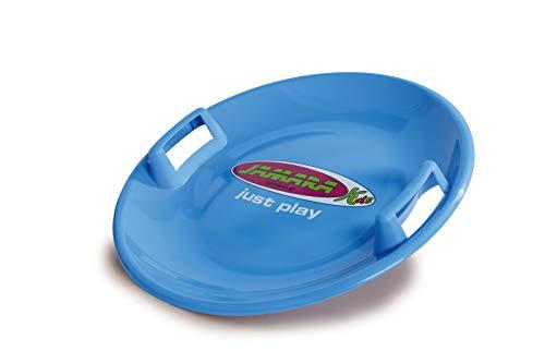 JAMARA 460369 - Snow Play Rutschteller 60cm blau - Haltegriffe an beiden Seiten, langlebiger, robuster Kunststoffkörper, Coole Spaßmotive auf der Rutschschale, Leichtgewicht mit nur 555 g