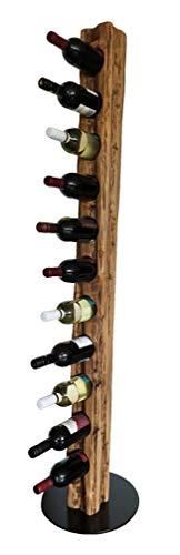 Wood & Wishes – Rustikaler Weinständer, Weinregal, Weinhalter aus Massivholz; gefertigt in Handarbeit für 11 Flaschen Wein; dekoratives Unikat; Höhe 158 cm Ø 34 cm; Treibholzoptik; Landhausstil