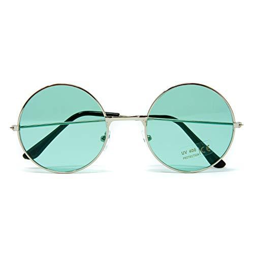 Oblique Unique® Hippie Brille John Lennon Retro Sonnenbrille Rund für 60er 70er Jahre Party Flower Power Kostüm Accessoire Fasching Karneval Herren Damen (Grün)