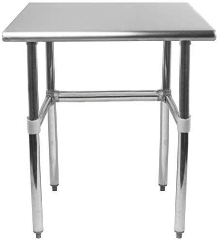 AmGood Stainless Steel Work Table Open Base | NSF Kitchen Island Food Prep | Laundry Garage Utility Bench (30