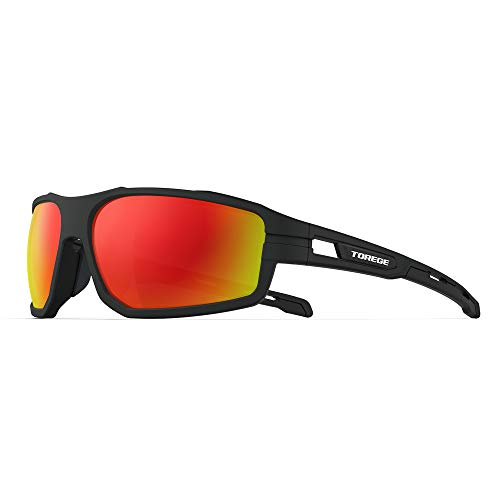 Polarized Sunglasses for Men, Sunglasses for Men, UV Protection Sunglasses for Women for Cycling Fishing Trekking TR31 VOLADOR (matte balck frame & black red lens)