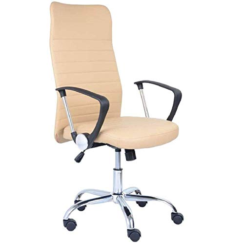 GOLDFAN Office Chair Swivel Computer Chair Desk Chair Game Chair High Back Adjustable Armrest Chairs with PU Leather, Beige