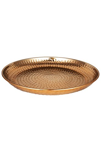 Orientalisches rundes Tablett Schale aus Metall Mia 40cm Kupfer   Orient Dekoschale mit hoher Rand   Marokkanisches Serviertablett Rund   Orientalische Silberne Deko auf dem gedeckten Tisch