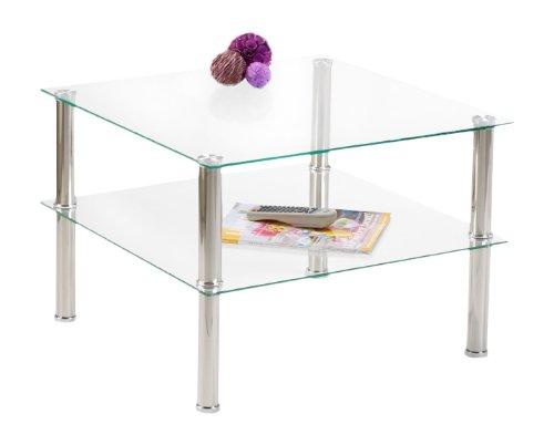 Presto mobilia 10376 - Tavolino in Vetro Adel, 55 x 55 x 43 cm, Trasparente
