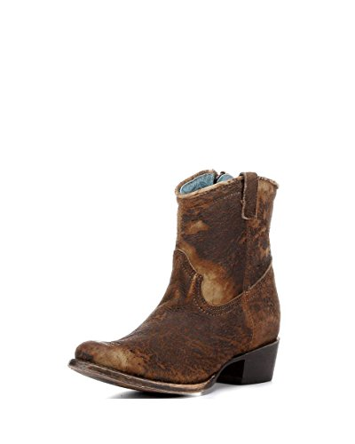 Corral Boots Women's 8-Inch Abstract Distressed Leather Round Toe Chocolate/Tan Western Boot