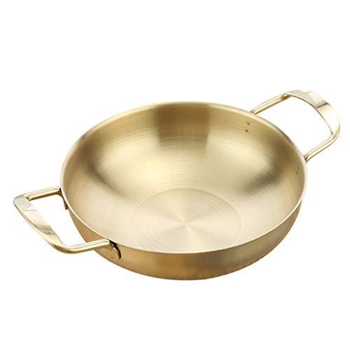 PETSOLA Edelstahl Paella-Pfanne Meeresfrüchte Kochtopf Suppentopf - Goldene 18cm