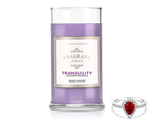 Fragrant Jewels Tranquility Lavender Candle with Collectible Ring (Size 5-10)
