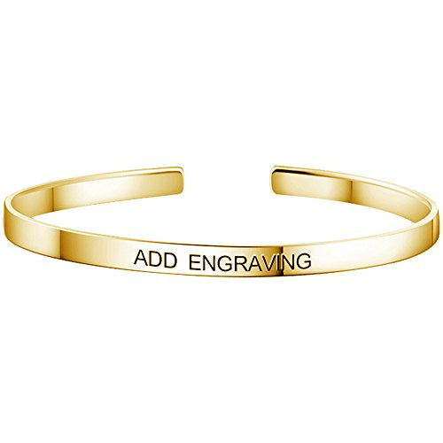 Soufeel Personalisierte Damen Armreif Armband mit Gravur 925 Sterling Silber in 14K Gold
