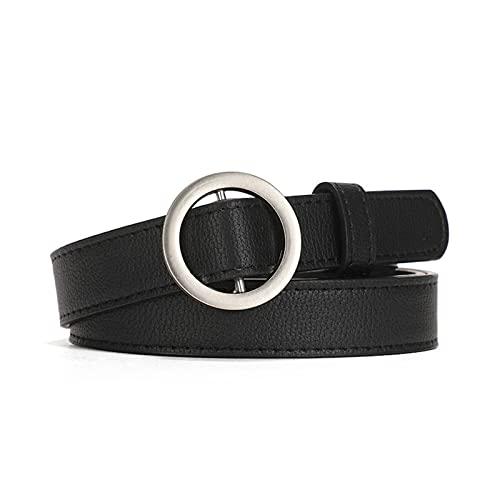 XIN NA RUI Cinturón para mujer, correa de cuero para mujer, correa de metal, hebilla redonda, pantalones vaqueros, cintura salvaje, cinturón femenino (color: plata, tamaño: 125 cm)