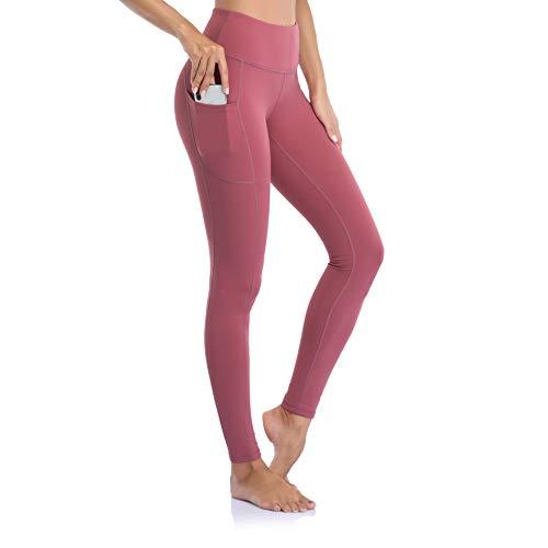 Ollrynns Leggins Deportivos Mujer Cintura Alta Pantalones Deportivos Mallas Leggings con Bolsillos para Running Training Fitness CA166,Rosado,M