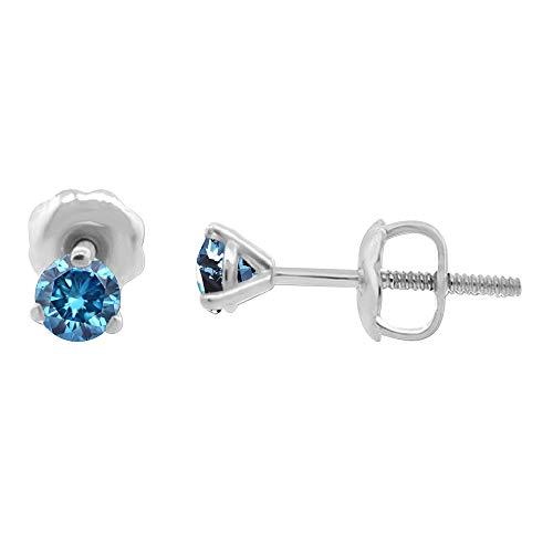 0.42 quilates tw Azul I1-I2 Aretes de diamantes redondos naturales engastados en...
