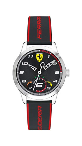 Ferrari 0860003 - Reloj de cuarzo para hombre de acero inoxidable con correa de silicona, color negro, 16 (modelo: 0860003)