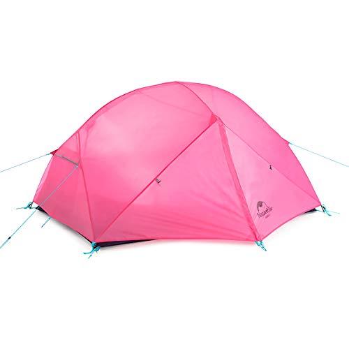 Naturehike 1—2人用Mongar 超軽量 二重層 自立型 ドーム型 登山テント アウトドアキャンプ テント 自転車ツーリング 日除け 虫よけに 防雨 防風 防災 グランドシート付き (ピンク色、210T、2人用)