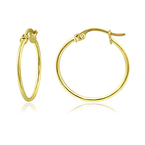 Yellow Gold Flashed Sterling Silver Thin Lightweight Small Round Tube Hoop Earrings, 15mm - 3/5\'