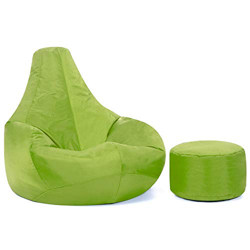 Puf para videojuegos reclinable de diseño con reposapiés a juego DE REGALO – Sillón tipo puf impermeable para interiores y exteriores de Bean Bag Bazaar® (Color Verde Lima)
