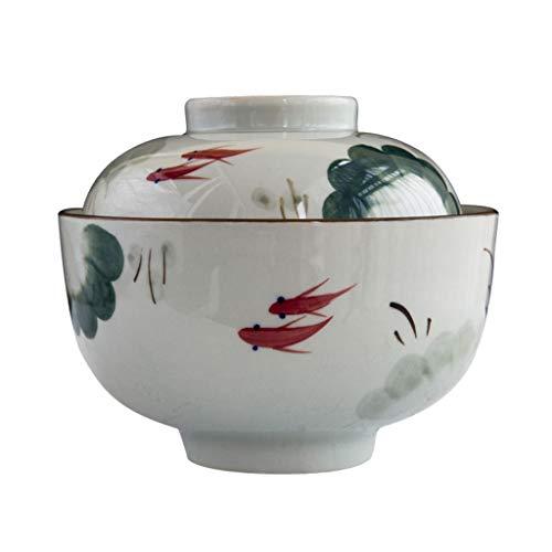 Blumen Pinellia Keramik Schüssel Mit Deckel, Handbemalt Ramen Suppenschüssel Haushalt Instant Nudelschale Kreative Japanische Geschirr 800ml