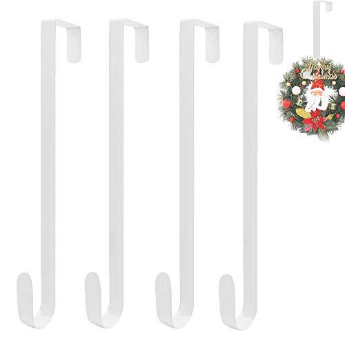 4PCS 15 Inch Wreath Hanger,White Over The Door Hook,Metal Wreath Hook for Front Door,Christmas Decoration,Coats,Bags