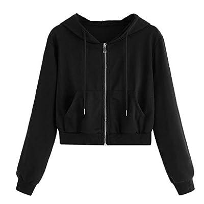 Hurrybuy Women Hoodie Long Sleeve Pullover Teen Girls Cute Crop Tops Solid Sweatshirts Casual Jumper Blouse Shirts Black