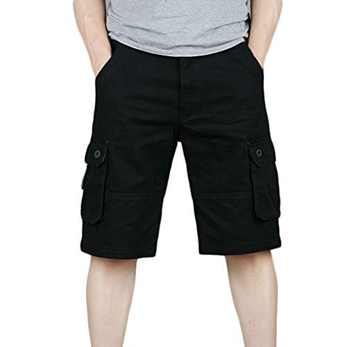 UJUNAOR Cargo Hose 3/4 Herren Bermuda Shorts Multi Tasche Army Sommer Kurze Freizeithose Baumwolle Gummibund Lässig(Schwarz,32)