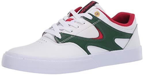 DC Men's Kalis Vulc Skate Shoe, White/Red, 10.5D M US