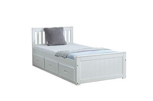 Amani White Pine Mission Single Slat Bed with Storage - 3 Drawers