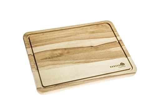 DMwood - Oscuro 30,5CM X 22,5CM Madera - Haya - Tabla de Picar con Ranura de Jugo - Tabla Antibacteriana de Cocina para Cortar Carne Queso y Verduras.