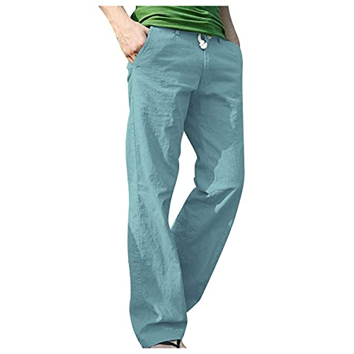 WXZZ Pantalones informales para hombre, de algodón, con cordones, de un solo color, para la playa, con cintura elástica, con bolsillos laterales, cordón, sueltos, de verano, para correr, etc., azul, L