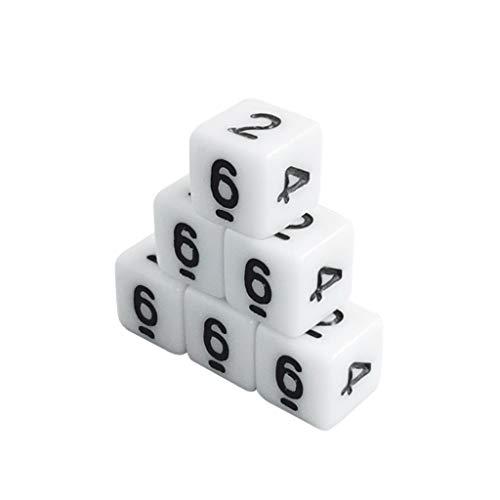 Picapoo 100 Stück White Gaming Dice 8/10 / 16mm Standard Six Sided Decider Number Dice Geburtstagsfeiern Brettspielwürfel for DND RPG Brettspiel Kartenspiel