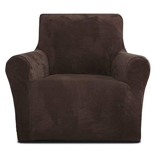 Rose Home Fashion Sofabezug für Sessel, 1 Stück Elastischer Sofaüberwurf Samt-Optisch, Couch Überzug, Sofa Überzug, Geeignet für Sessel mit Einer Länge von 81-119 cm, Braun