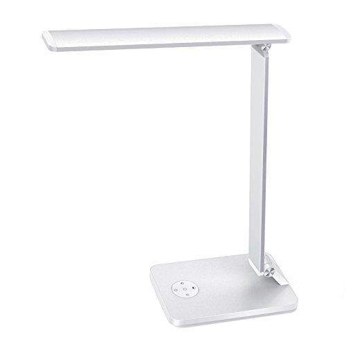 MoKo Lámpara Escritorio USB LED 10W Regulable, Inteligente Giratoria Lámpara de Mesa Táctil con Protección de Ojo/Brillo Continuo/Temperatura de Color/Función de Memoria/Modo de Sueño,etc.- Plata