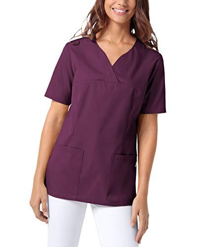 CLINIC DRESS Schlupfkasack Damen Kasack für die Pflege 1/2 Arm Regular Fit Länge ca. 70 cm 50% Baumwolle 95 Grad Wäsche Pflaume M