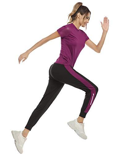 Aibrou Completo Sportivo Donna Fitness Abbigliamento Sportivo Estivo Tuta da Ginnastica Donna 2 Pezzi Crop Top e Pantaloni per Yoga, Corsa, Palestra