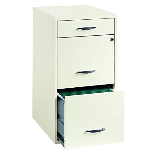 """Hirsh Industries 18"""" Deep 3 Drawer Steel File Cabinet in White"""