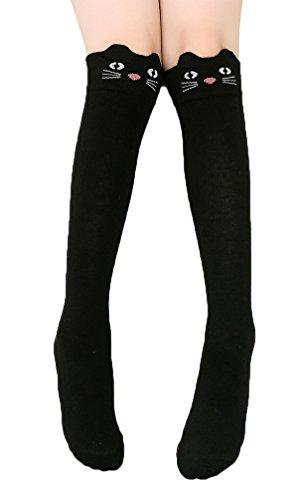 Price comparison product image BogiWell Girls Cute Animal Socks Cotton Over Calf Knee High Socks Black Cat