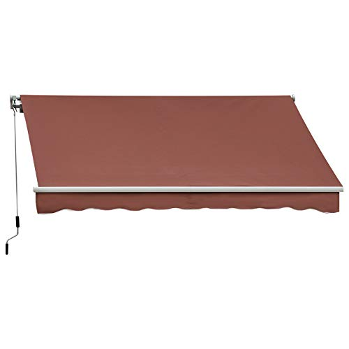 Outsunny 10' x 8' Manual Retractable Awning Sun Shade Shelter for Patio Deck Yard with UV Protection and Easy Crank Opening, Coffee