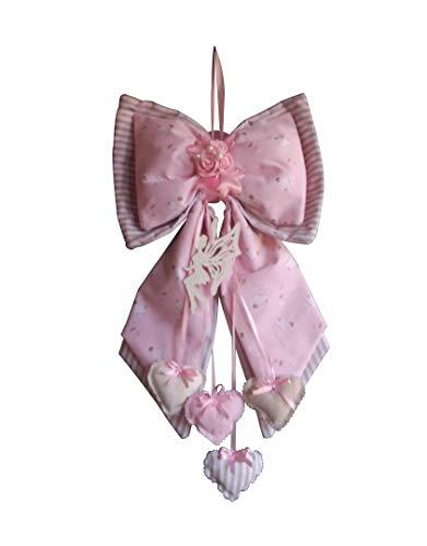 Fiocco Nascita Bimba Rosa doppio con fatina e cuoricini pendenti