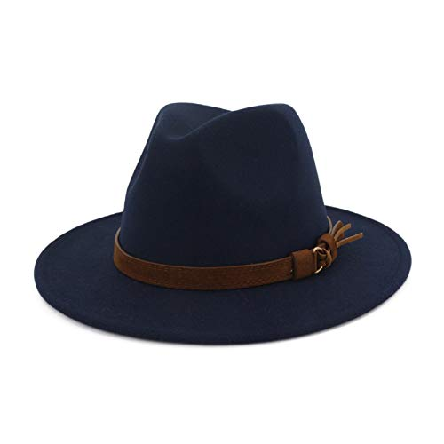 HUDANHUWEI Unisex Wide Brim Felt Fedora Hats Men Women Panama Trilby Hat with Band Navy L (Head Circumference 22.8'-23.6')