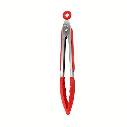 Silikonzange Küche Edelstahl BBQ Antihaft-Küchenutensilien Grill Kochzangemit Joint Lock Küchenzubehör, rote Zange