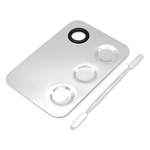 DingGreat 6x4 Zoll 3-Well Makeup Palette Edelstahl Kosmetik Make Up Palette Spachtel Werkzeug, Silber, Set von 2