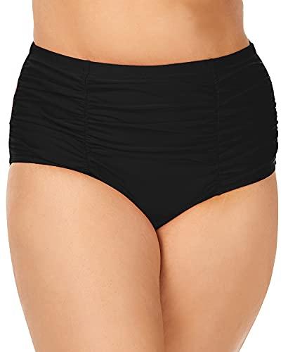 Raisins Curve Plus Size Marrakesh Costa Bikini Bottom, 16W, Black