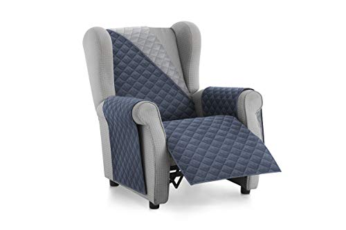 Textilhome - Funda Cubre Sofá Malu -1 Plaza - Relax - Protector para Sofás Acolchado Reversible. Color Azul C/5