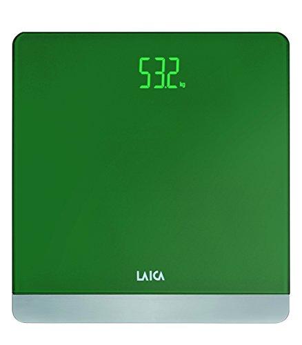 Báscula de baño digital LAICA PS1057 color verde, diseño elegante, en vidrio y metal, peso máximo 180 Kg.