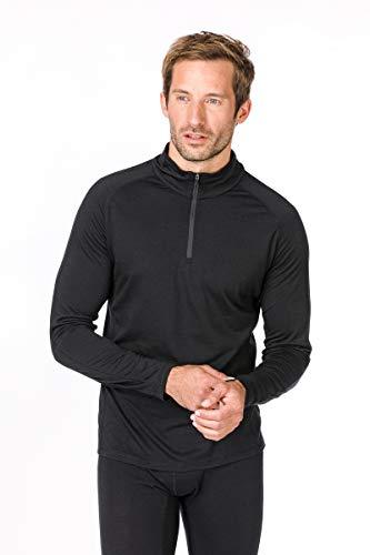 Super.natural Tee-shirt Manches Longues pour Hommes, Laine mérinos, M BASE 1/4 ZIP 175, Taille: M, Couleur: Noir
